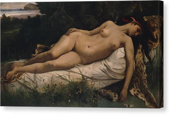 Naked Woman Canvas Print - Recumbent Nymph by Anselm Feuerbach