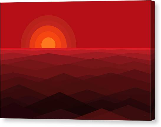 Abstract Seascape Canvas Print - Red Abstract Sunset by Val Arie