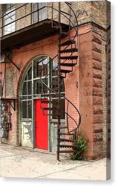 Red Alley Door Canvas Print