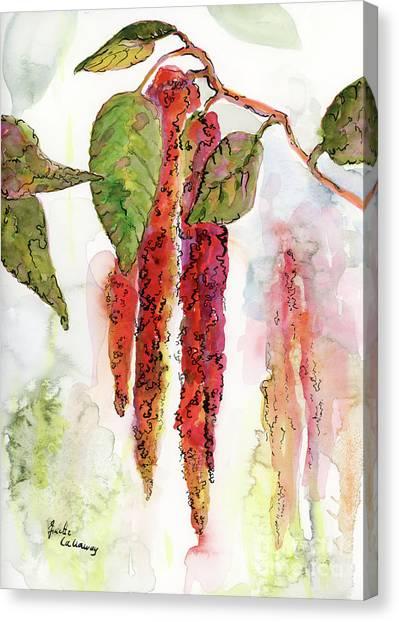 Red Amaranth Modern Botanical  Canvas Print