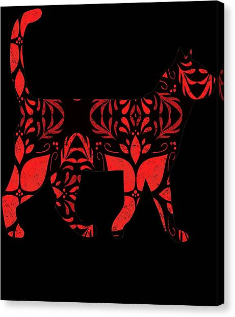 Ocicats Canvas Print - Red And Black Distressed by Kaylin Watchorn
