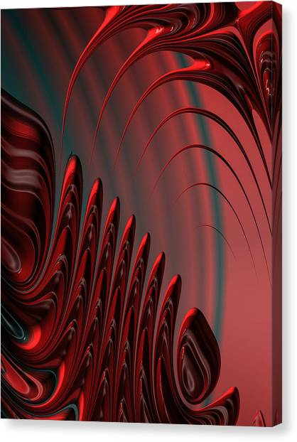 Red And Black Modern Fractal Design Canvas Print