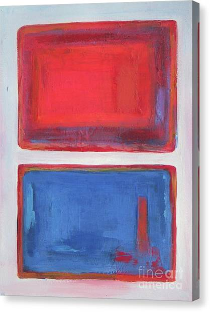Novak Djokovic Canvas Print - Red And Blue - Abstract Painting by Vesna Antic