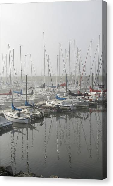 Red And Blue Boats Canvas Print by Laurie With