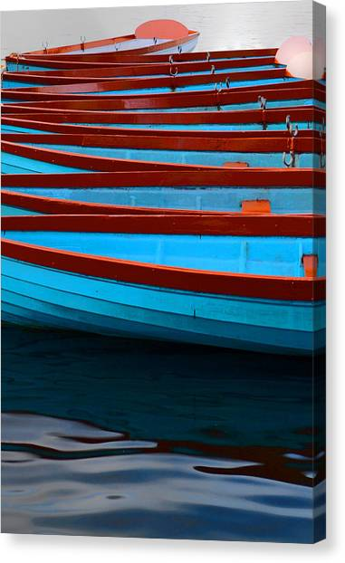 Red And Blue Paddle Boats Canvas Print