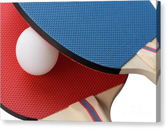 Red And Blue Ping Pong Paddles - Closeup Canvas Print