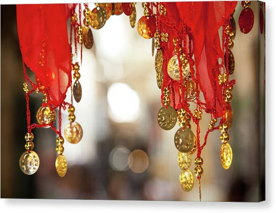 Red And Gold Entrance To Market Canvas Print