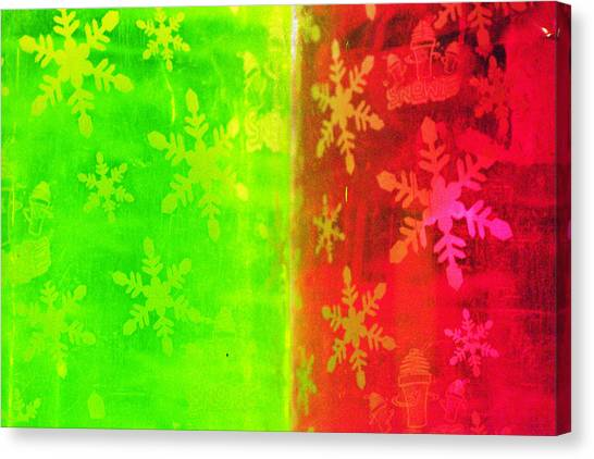Red And Green With A Snowflake Pattern Canvas Print by Richard Henne