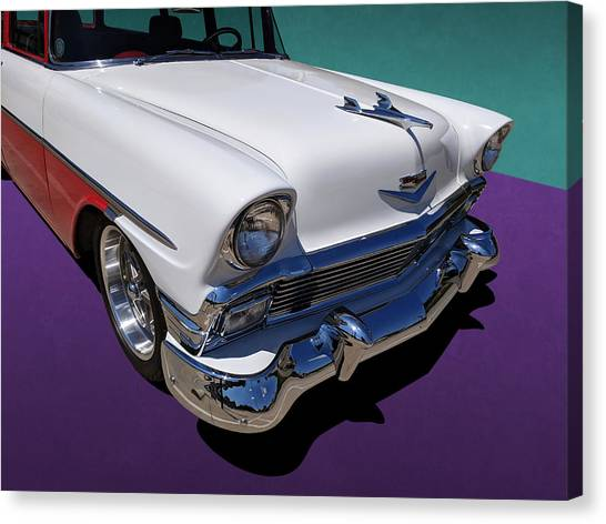 Red And White 1950s Chevrolet Wagon Canvas Print