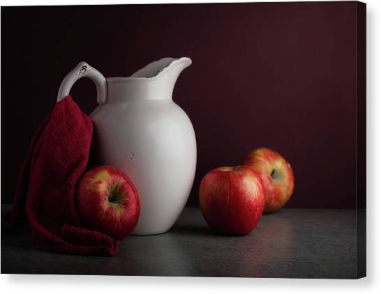 Pitchers Canvas Print - Red And White Apple Still Life by Tom Mc Nemar