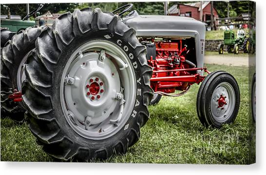 John Deere Canvas Print - Red And White Ford Model 600 Tractor by Edward Fielding