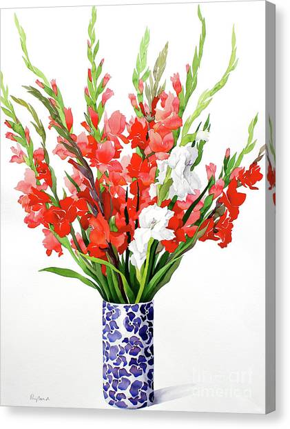 Ceramic Glazes Canvas Print - Red And White Gladioli by Christopher Ryland