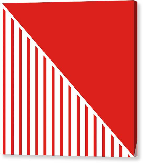 Flags Canvas Print - Red And White Triangles by Linda Woods