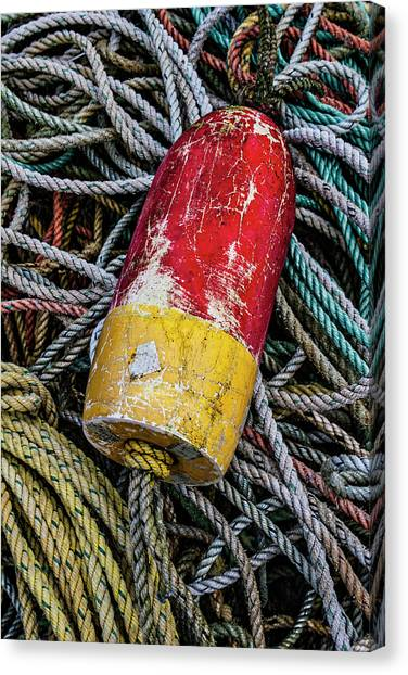 Crabbing Canvas Print - Red And Yellow Buoy by Carol Leigh