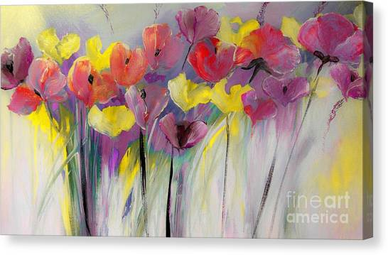 Red And Yellow Floral Field Painting Canvas Print