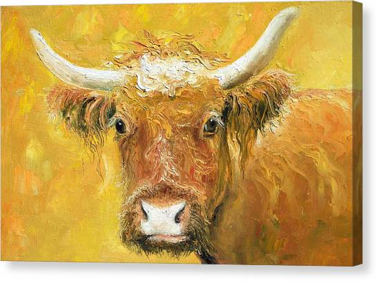 Country Kitchen Decor Canvas Print - Red Angus Cow by Jan Matson