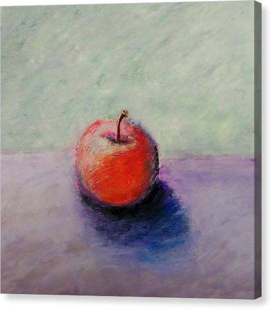 Red Apple With Mint Green And Purple Canvas Print
