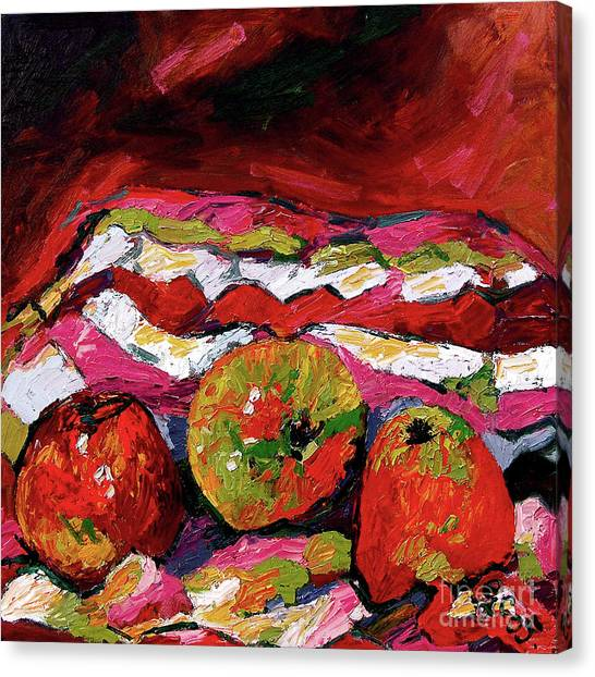 Red Apples Impressionist Still Life Oil Painting Canvas Print