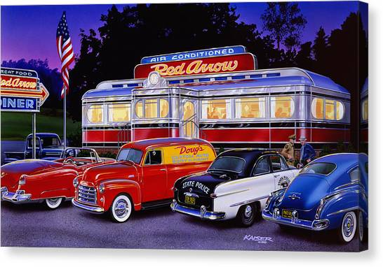 Diners Canvas Print - Red Arrow Diner by Bruce Kaiser