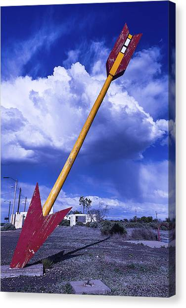 Timeworn Canvas Print - Red Arrow With Clouds by Garry Gay