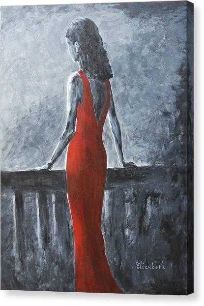 Red Balcony Dress Canvas Print by Beth Maddox