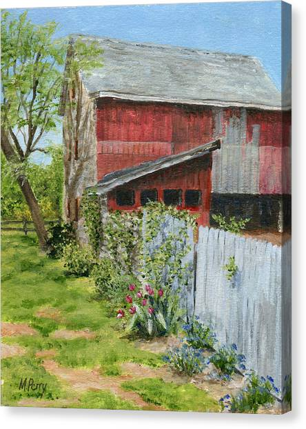 Red Barn And Gray Fence Canvas Print