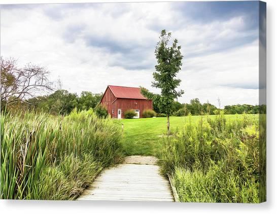 Rural Canvas Print - Red Barn At Dawes Arboretum by Tom Mc Nemar