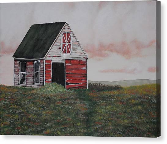 Red Barn Canvas Print by Candace Shockley