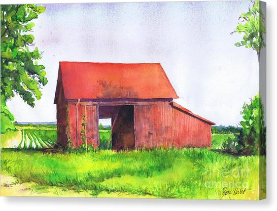 Red Barn Cutchogue Ny Canvas Print by Susan Herbst