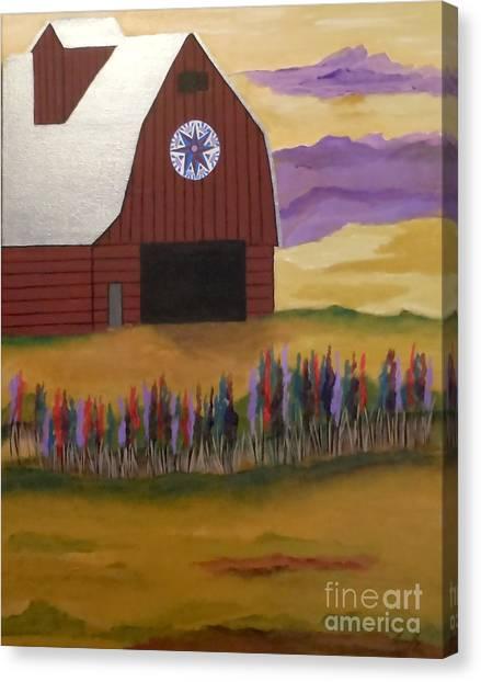 Red Barn Golden Landscape Canvas Print
