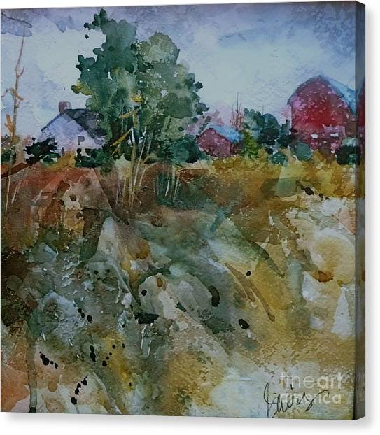 Red Barn Hill Canvas Print by Xx X