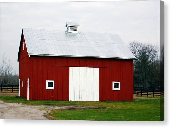 Greeting Canvas Print - Red Barn- Photography By Linda Woods by Linda Woods