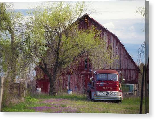 Red Barn Red Truck Canvas Print