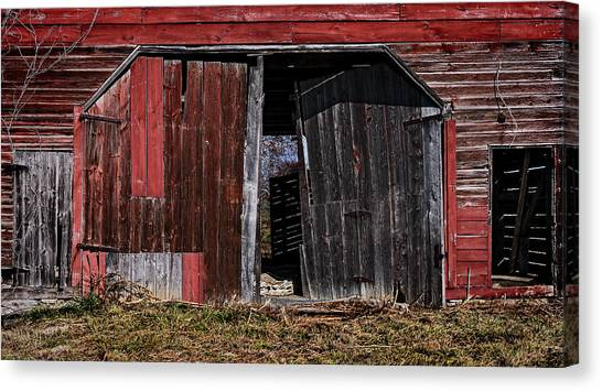 Canvas Print - Red Barn Side by Murray Bloom