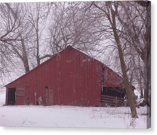 Red Barn Trees Snow Canvas Print