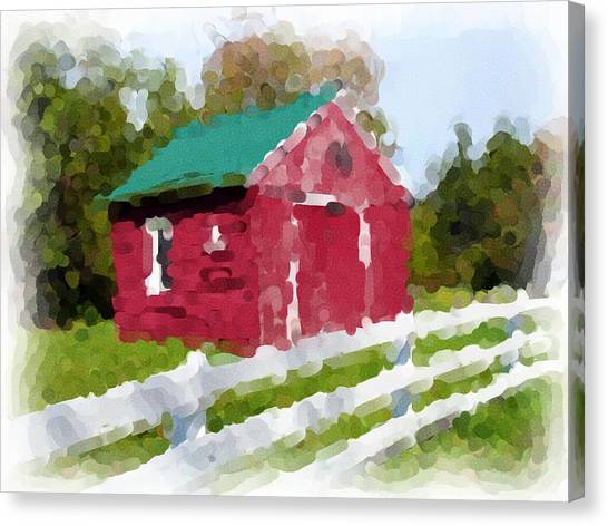 Red Barn Vermont Watercolor Canvas Print by Ralph Liebstein