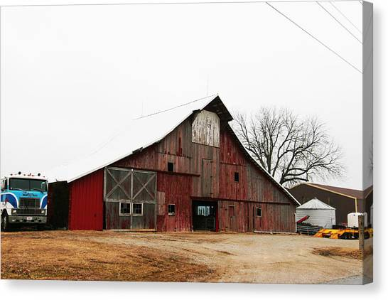 Red Barn W Blue Truck 2 Canvas Print by Mike Loudermilk