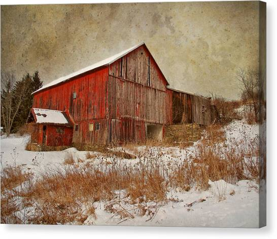Barns Canvas Print - Red Barn White Snow by Larry Marshall