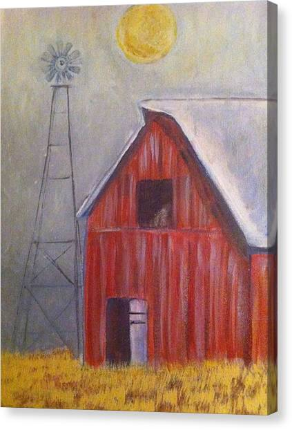 Red Barn With Windmill Canvas Print