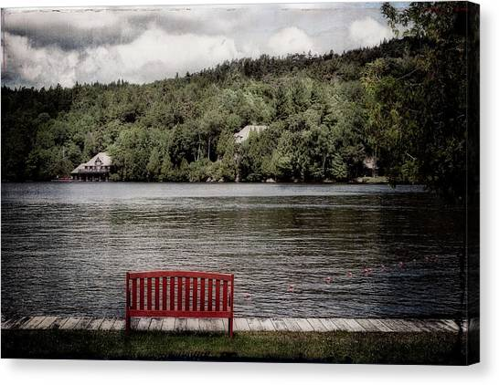 Canvas Print featuring the photograph Red Bench by Christopher Meade