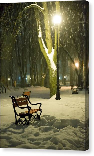 Night Lights Canvas Print - Red Bench In The Park by Jaroslaw Grudzinski