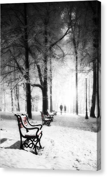 Snow Canvas Print - Red Benches In A Park by Jaroslaw Grudzinski