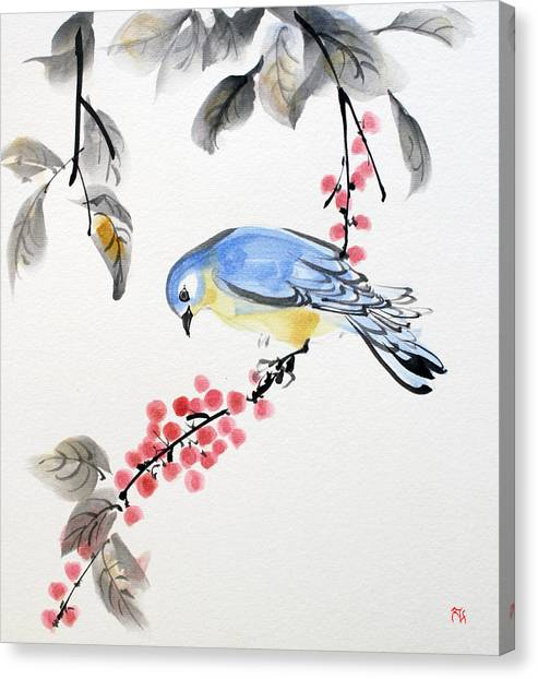 Red Berries Blue Bird Canvas Print