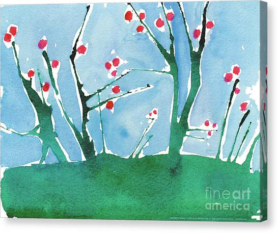 Red Berry Flowers Canvas Print