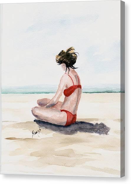 Bikini Canvas Print - Red Bikini by Sam Sidders