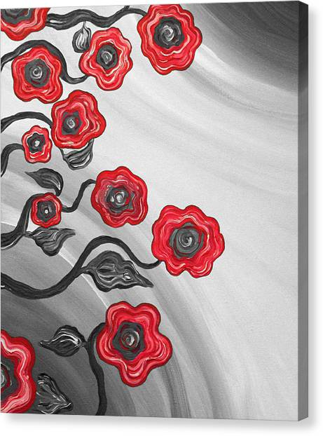 Red Blooms Canvas Print by Brenda Higginson