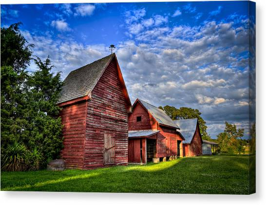 Canvas Print featuring the photograph Red Blue And Green Barns At Windsor Castle by Williams-Cairns Photography LLC