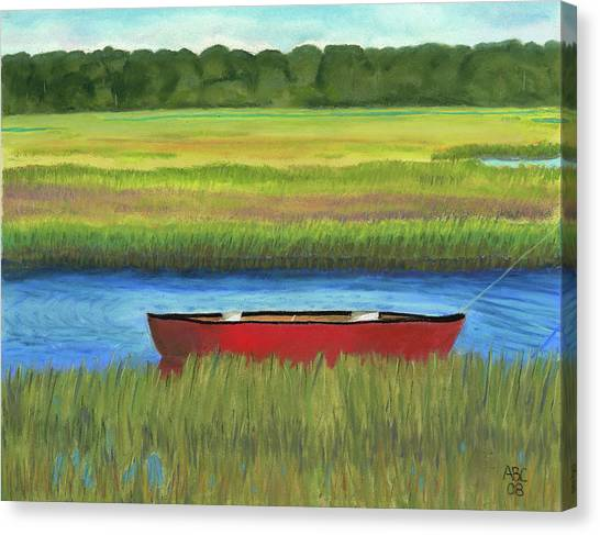 Red Boat - Assateague Channel Canvas Print