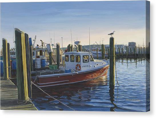 Red Boat At Galilee Canvas Print by Bruce Dumas
