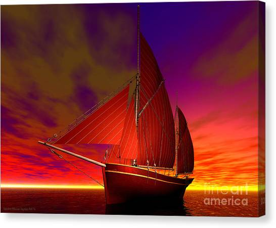 Canvas Print featuring the digital art Red Boat At Sunset by Sandra Bauser Digital Art